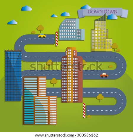 Flat design modern illustration icon of urban landscape and city life