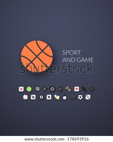 Flat design modern of brand identity style, web and mobile design, design element objects and collection vector illustration icons set 12 - sport and game collection - stock vector