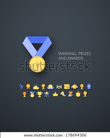 Flat design modern of brand identity style, web and mobile design, design element objects and collection vector illustration icons set 28 - winning, prizes and awards - stock vector