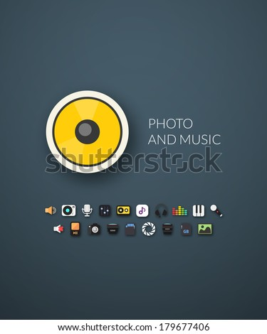 Flat design modern of brand identity style, web and mobile design, design element objects and collection, vector illustration icons set 11 - audio and photo collection - stock vector