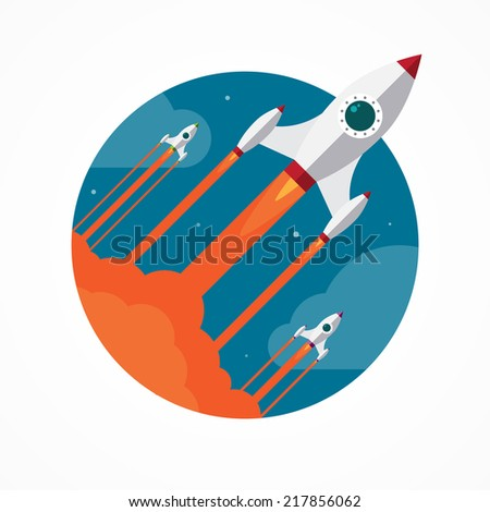 Flat design modern startup concept with flying rockets. Vector illustration - stock vector