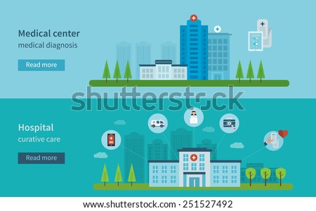 Flat design modern vector illustration concept for healthcare, medical center and hospital building - stock vector