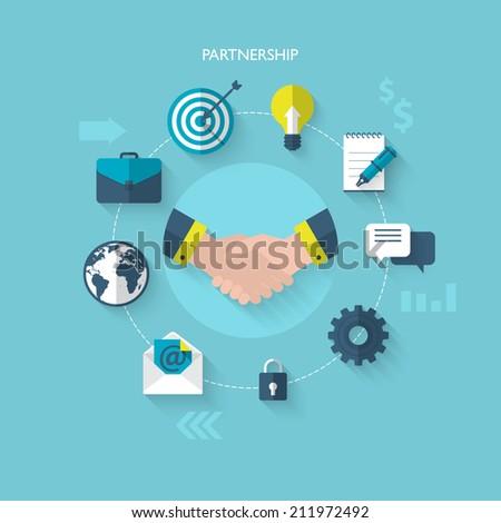 Flat design modern vector illustration concept for partnership and team work - stock vector