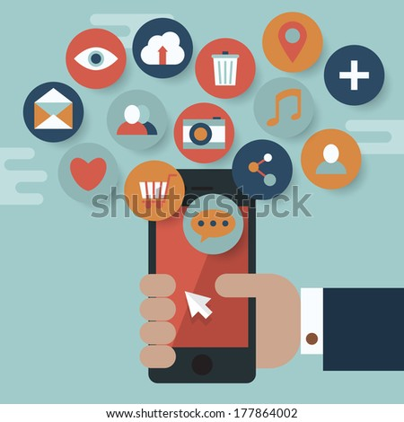 Flat design modern vector illustration concept for phone app icons and media device - stock vector