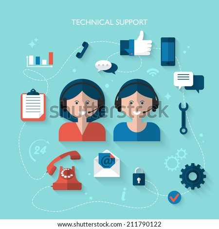 Flat design modern vector illustration concept for technical support service - stock vector