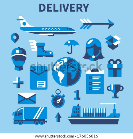Flat design modern vector illustration concept mobile shopping communication and delivery service. Isolated on colored stylish background. - stock vector