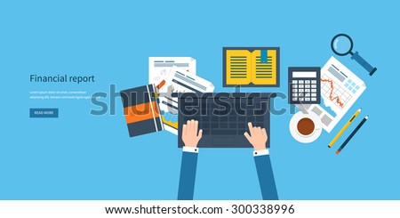 Flat design modern vector illustration concept of analyzing project, financial report, financial analytics, market research and planning documents - stock vector