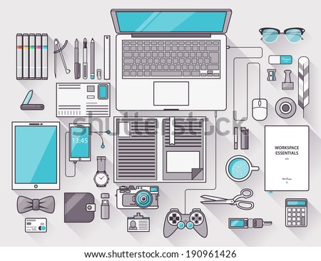 Flat design modern vector illustration concept of creative office workspace, workplace. Top view of desk background with laptop, digital devices, office objects with long shadows. Stroke, thin line. - stock vector