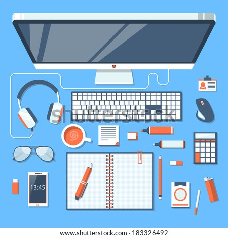 Flat design modern vector illustration concept of creative office workspace, workplace with computer. Top view of desk background with laptop, digital devices, office objects, books and documents. - stock vector