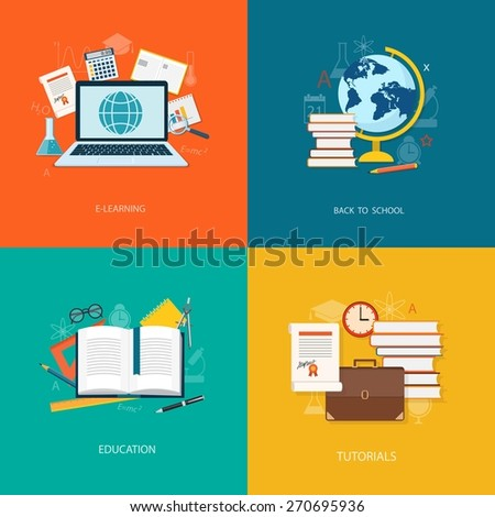 Flat design modern vector illustration concept of education, tutorials, learning with books, laptop, globe and briefcase - eps10 - stock vector