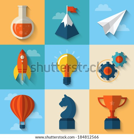 Flat design modern vector illustration concept of icons for start up - stock vector