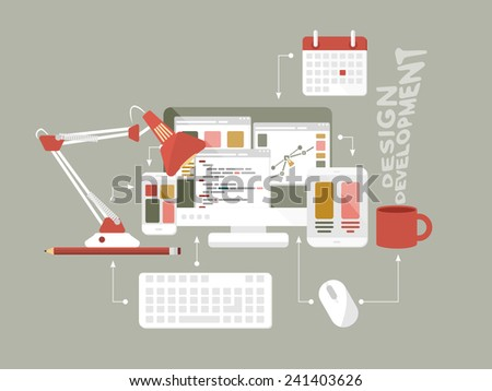 Flat design modern vector illustration concept of mobile and desktop website design development process with isolated computer, mobile phone and tablet - stock vector