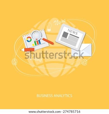 Flat design modern vector illustration concept of online business, analytics, management - eps 10 - stock vector