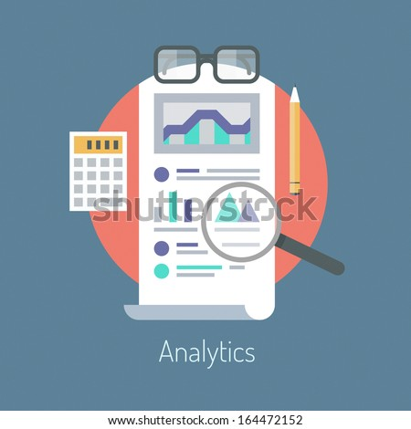Flat design modern vector illustration concept of poster on analytics research information and website data statistics. Isolated on stylish color background. - stock vector