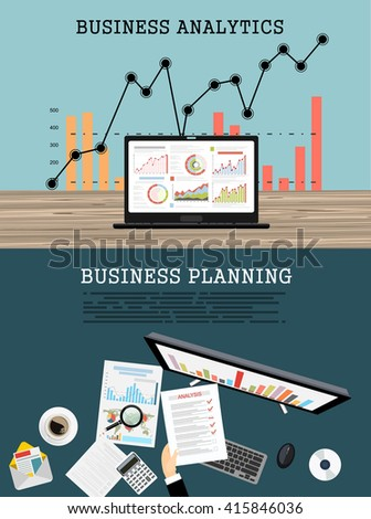 Flat design modern vector illustration concept of project management business analysis and planning.Concepts web banner and printed materials. - stock vector