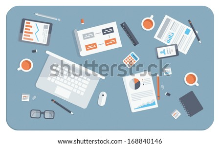 Flat design modern vector illustration concept of teamwork analyzing project on business meeting. Top view of desk background with laptop, digital devices, office objects with papers and documents. - stock vector