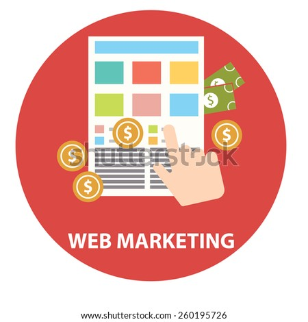 Flat design modern vector illustration concept of web marketing internet advertising model when the ad is clicked - stock vector