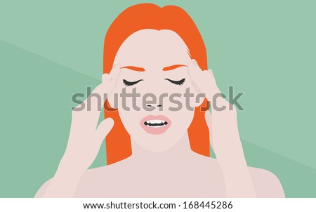 Flat design modern vector illustration concept of young girl with hands on face suffering from headache or migraine pain. Isolated on stylish color background. - stock vector