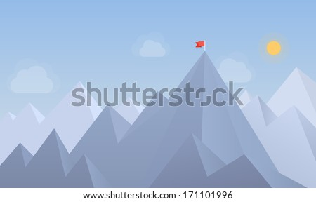Flat design modern vector illustration concept with copy space of flag on the mountain peak, meaning overcoming difficulties, goal achievement, winning strategy with focus on results. - stock vector