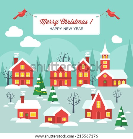 Flat design modern vector illustration for Christmas holiday with winter town - stock vector