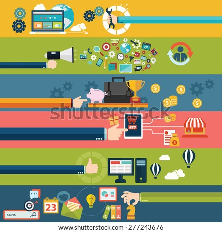 Flat design modern vector illustration icons in stylish colors of hand touch screen with business icons, finance, online purchase on digital tablet and wireless e-commerce usage. - stock vector