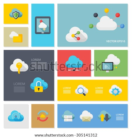 Flat design modern vector illustration icons set of cloud network in stylish colors.