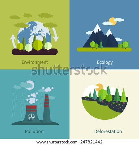 Flat design modern vector illustration icons set of environment, ecology, pollution and deforestation  - stock vector