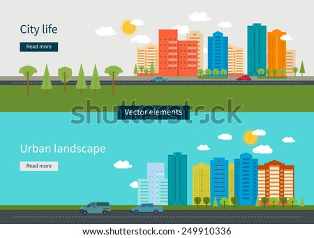 Flat design modern vector illustration icons set of urban landscape and city life. Building icon