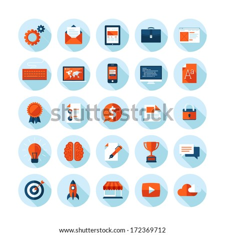 Flat design modern vector illustration icons set of web design, seo, business and marketing items. Icons with long shadow in stylish colors, isolated on white.     - stock vector