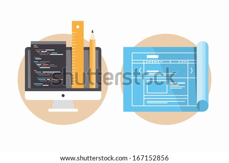 Flat design modern vector illustration icons set of website programming and coding, web page blueprint and development project process. Isolated on white background - stock vector
