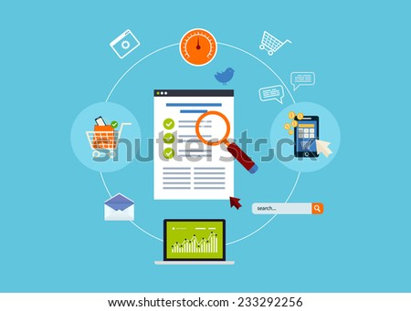 Flat design modern vector illustration icons set of website SEO optimization, mobile marketing and web analytics elements. - stock vector