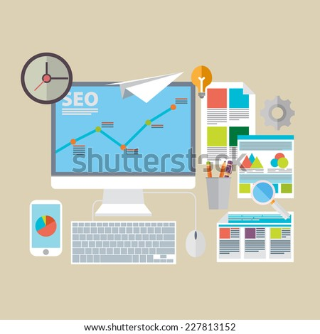 Flat design modern vector illustration icons set of website SEO optimization, programming process and web analytics elements.  - stock vector