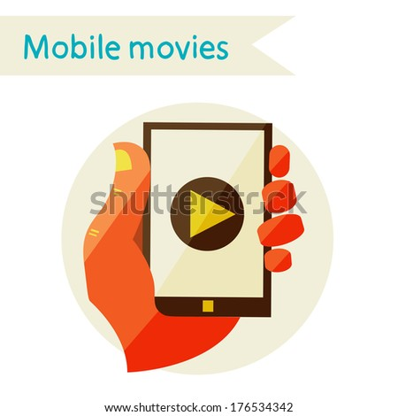 Flat design modern vector illustration in stylish colors, mobile phone, Creative concept with video player  on Smart phone  - stock vector
