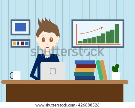 Flat design modern vector illustration lifestyle concept of handsome man in casual T-shirt sitting at the desk and working on laptop in the office. Isolated on colored background. Vector illustration - stock vector