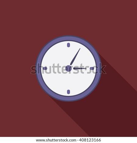 Flat design modern vector illustration of analog clock icon. - stock vector