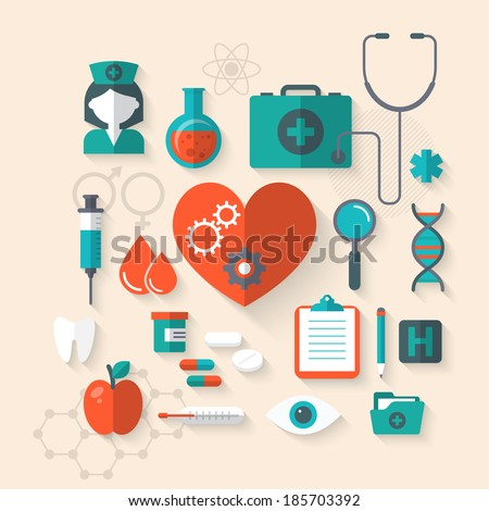 Flat design modern vector illustration of medical icons - stock vector