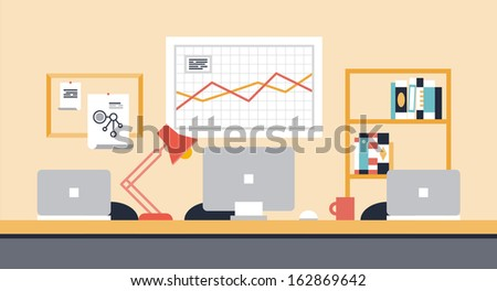 Flat design modern vector illustration of stylish workspace interior for team collaboration or people co-working space with office objects, equipment and modern devices.  - stock vector