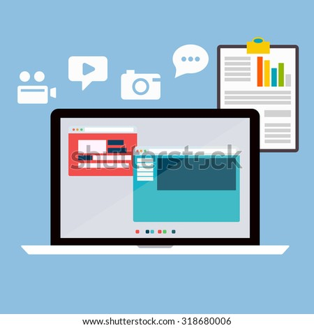 Flat design modern vector illustration poster of the SEO website searching optimization process with web page, laptop and other icons. Isolated on stylish color background - stock vector