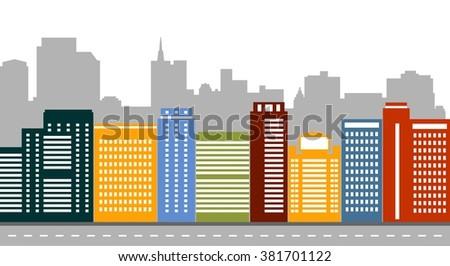Flat design modern vector illustration set of urban landscape and city life. Buildings design. - stock vector