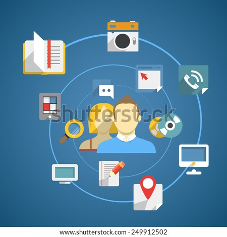 Flat design modern web media network concept - stock vector