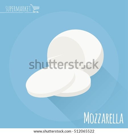 Flat design mozzarella cheese vector icon  on light blue background with long shadow