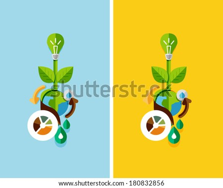 Flat design nature concept: green energy, save the planet, water. Can be used for web banners, printed materials - stock vector