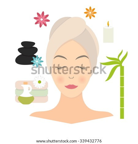 Flat design of a woman with towel in spa. Vector illustration - stock vector