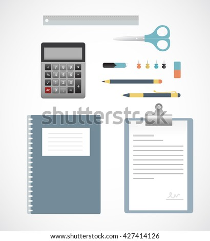 Flat design of business accessories on table. Vector illustration EPS10. Isolated object. - stock vector