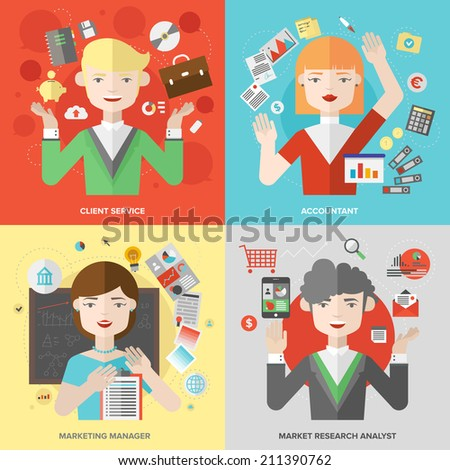 Flat design of business people jobs, marketing professions, client service and support, market research analyst, financial accounting and planning occupation. Modern style vector illustration concept. - stock vector