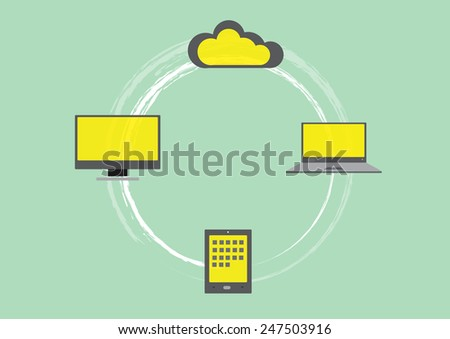 Flat design of computers and cloud servers - stock vector