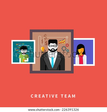 Flat design of creative people web occupations. Portrets avatars in frame on red background - stock vector