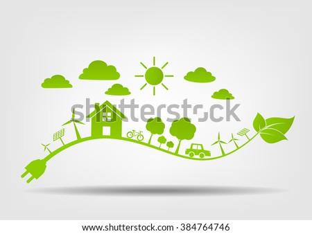 Flat design of Eco friendly concept, vector illustration - stock vector