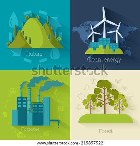 Flat design of ecology, environment, green clean energy and pollution backgrounds. Vector concept illustration - stock vector