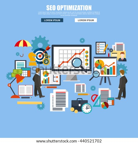 Flat design of search engine optimization service, SEO data analytics and keyword process. Modern vector illustration concept for website or infographics. - stock vector